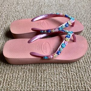 Beaded Haviana Flip Flops, Size 6